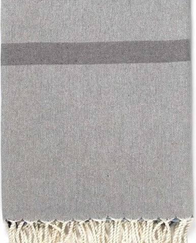 Šedo-modrá osuška s příměsí bavlny Kate Louise Cotton Collection Line Navy Grey Blue, 100 x 180 cm