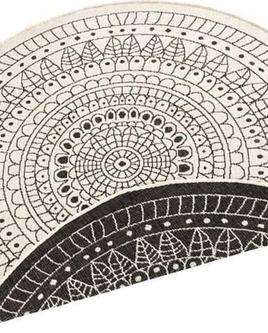 Černo-krémový venkovní koberec Bougari Porto, ø 200 cm