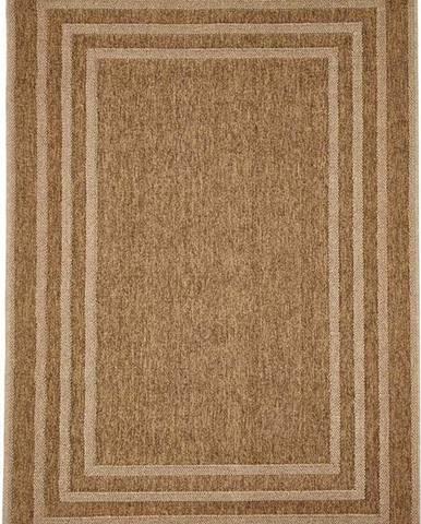 Hnědý venkovní koberec Floorita Border, 133 x 190 cm