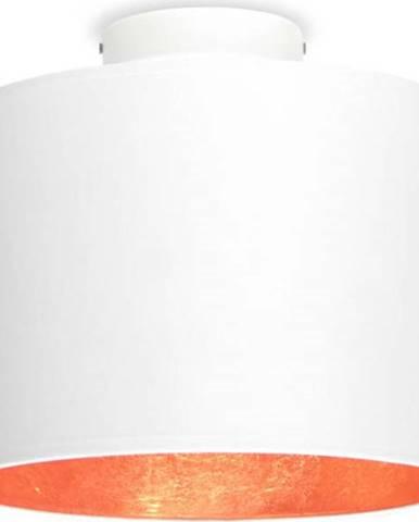 Bílé stropní svítidlo s detailem v měděné barvě Sotto Luce MIKA S,⌀25cm
