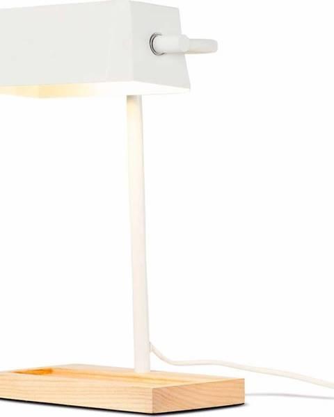 Citylights Bílá stolní lampa s prvky z jasanového dřeva Citylights Cambridge