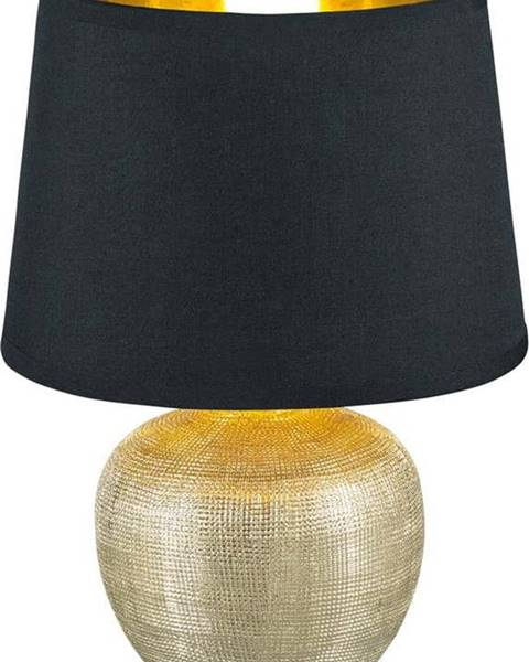 TRIO Černá stolní lampa z keramiky a tkaniny Trio Luxor, výška 26 cm