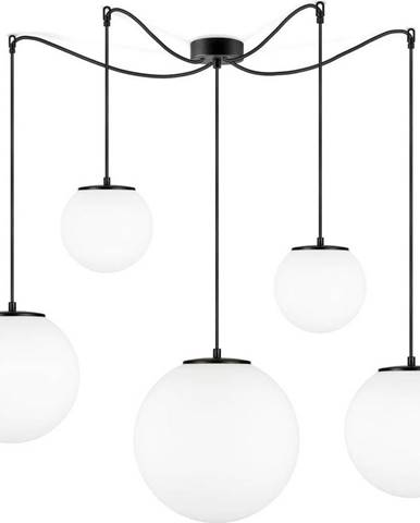 Bílé pětiramenné závěsné svítidlo s objímkou v černé barvě Sotto Luce TSUKI