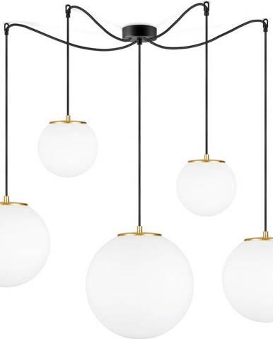 Bílé pětiramenné závěsné svítidlo s objímkou ve zlaté barvě Sotto Luce TSUKI