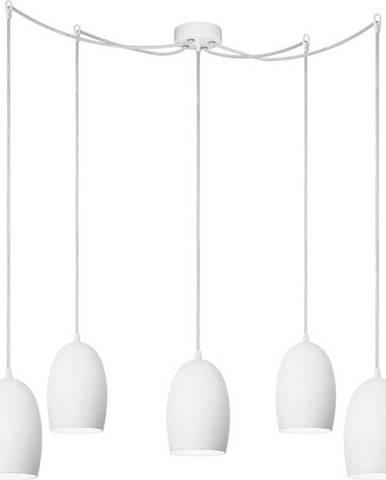 Bílé pětiramenné závěsné svítidlo Sotto Luce Ume Elementary Shiny,⌀13,5cm