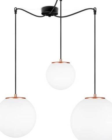 Bílé tříramenné závěsné svítidlo s objímkou ve měděné barvě Sotto Luce TSUKI