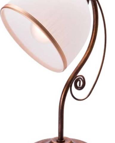 Bílo-hnědá stolní lampa Lamkur