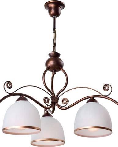 Bílo-hnědé závěsné svítidlo pro 3 žárovky Lamkur Retro