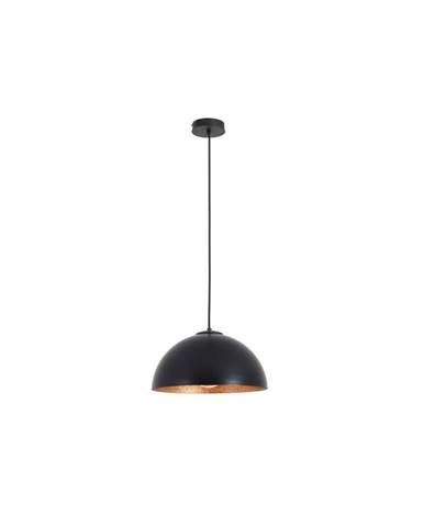 Černé závěsné svítidlo s detailem v měděné barvě Custom Form Lord, ø 35 cm