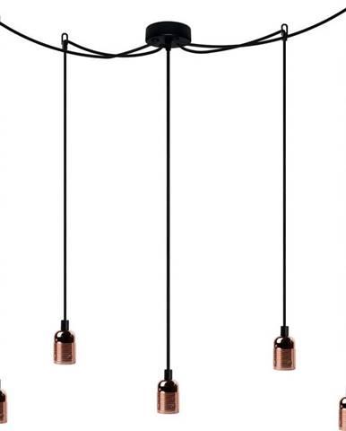 Pětiramenné závěsné svítidlo s detaily v měděné barvě Bulb Attack Uno Cassie