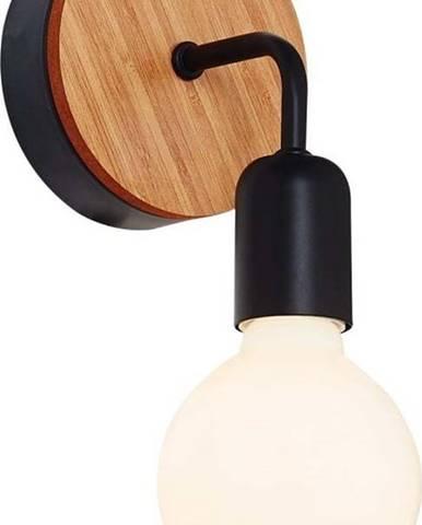 Černé nástěnné svítidlo s dřevěným detailem Homemania Decor Valetta