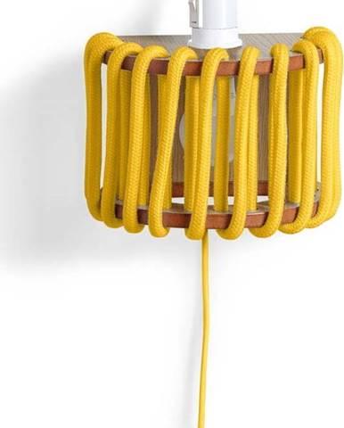 Žlutá nástěnná lampa s dřevěnou konstrukcí EMKO Macaron,délka20cm