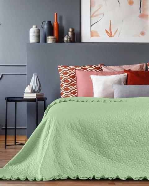 AmeliaHome Zelený přehoz přes postel AmeliaHome Tilia Mint, 220x240cm