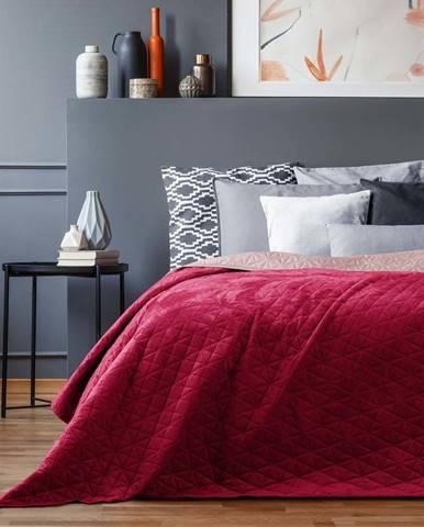 Červený přehoz přes postel AmeliaHome Laila Mauve, 220x240cm