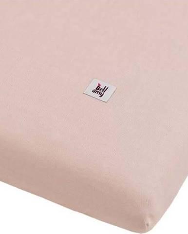Růžová dětské lněné prostěradlo BELLAMY Dusty Pink, 70x140cm