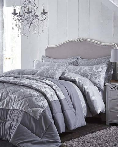 Šedý prošívaný přehoz přes postel Catherine Lansfield Jacquard, 240x260cm
