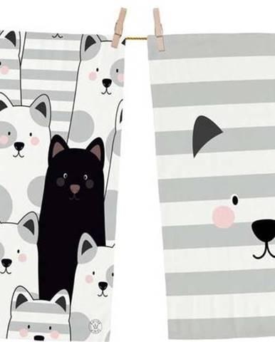Set 2 kusů utěrek z bavlny Butter Kings Black Cat, 70 x 50 cm