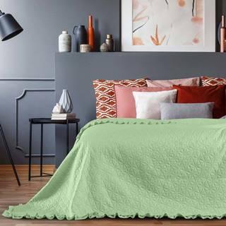Zelený přehoz přes postel AmeliaHome Tilia Mint, 220x240cm