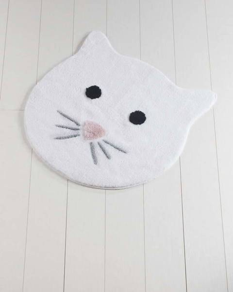 Chilai Home by Alessia Bílá koupelnová předložka Cat, ⌀ 90 cm