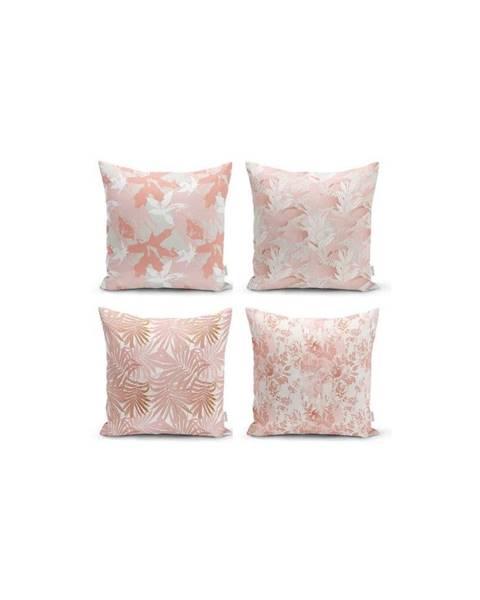Minimalist Cushion Covers Sada 4 dekorativních povlaků na polštáře Minimalist Cushion Covers Pink Leaves,45x45cm