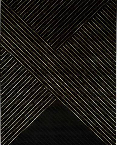 Černý koberec Universal Gold Stripes, 120 x 170 cm