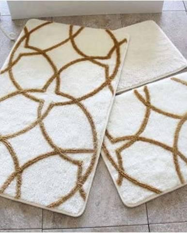 Sada 3 bílo-zlatých předložek do koupelny Bonita