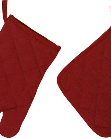 Set karmínově červené chňapky a rukavice Unimasa
