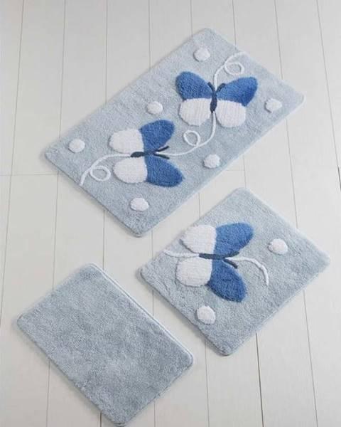 Chilai Home by Alessia Sada 3 bílo-modrých koupelnových předložek Mari Blue