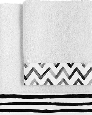 Sada 2 bavlněných ručníků Blanc Stripes