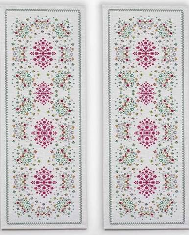 Sada 2 stolních běhounů s příměsí lnu Madre Selva Flowers Tapestry
