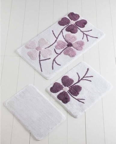 Sada 3 fialovo-bílých předložek do koupelny Flowers