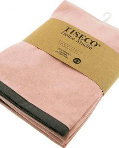 Sada 3 růžových bavlněných utěrek Tiseco Home Studio, 50 x 70 cm