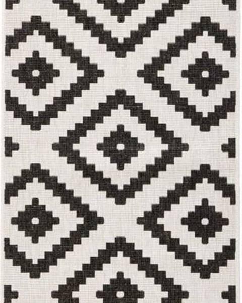 Bougari Černo-krémová venkovní koberec Bougari Malta, 80x350 cm