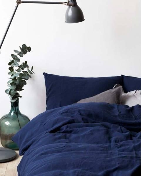 Linen Tales Námořnicky modrý lněný povlak na peřinu Linen Tales, 200 x 200 cm