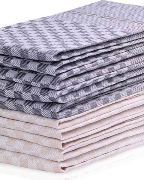 DecoKing Sada 10 tmavě šedo-krémových bavlněných utěrek DecoKing Louie, 50 x 70 cm