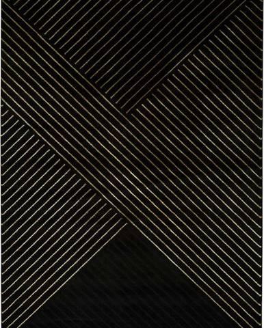 Černý koberec Universal Gold Stripes, 140 x 200 cm