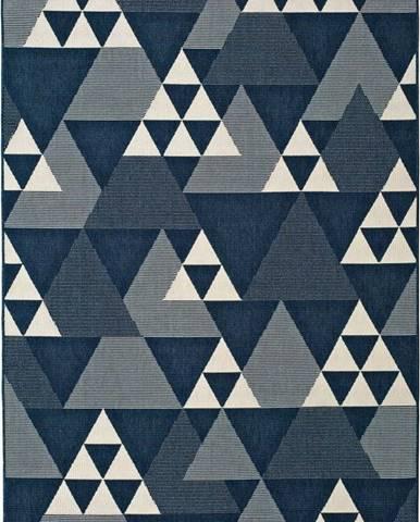 Modrý venkovní koberec Universal Clhoe Triangles, 140 x 200 cm