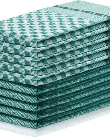 Sada 10 tmavě zelených bavlněných utěrek DecoKing Louie, 50 x 70 cm
