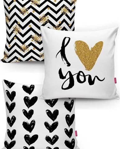 Sada 3 povlaků na polštáře Minimalist Cushion Covers BW With Hint Of Gold, 45 x 45 cm
