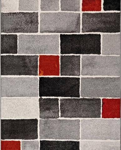 Šedo-červený koberec Universal Lucy Dice, 60x120cm