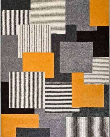 Šedo-oranžový koberec Universal Leo Square, 160 x 230 cm