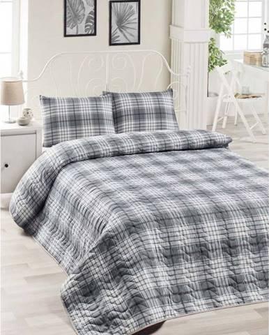 Set bavlněného šedého přehozu přes postel a 2 povlaků na polštáře Harro Mento, 200 x 220 cm