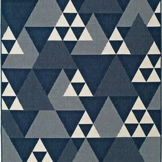 Modrý venkovní koberec Universal Clhoe Triangles, 160 x 230 cm