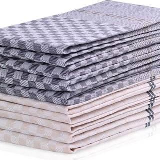 Sada 10 tmavě šedo-krémových bavlněných utěrek DecoKing Louie, 50 x 70 cm