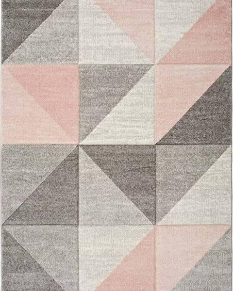 Universal Růžovo-šedý koberec Universal Retudo Naia, 80x150cm