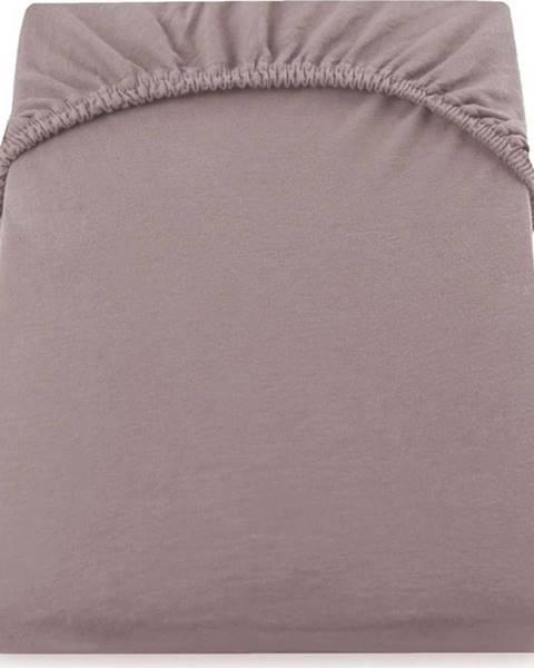 DecoKing Světle hnědobéžové elastické prostěradlo DecoKing Nephrite, 140/160 x 200 cm