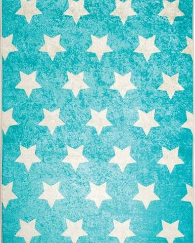 Modrý dětský protiskluzový koberec Chilai Stars,100x160cm