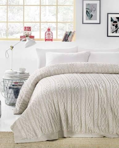 Šedobéžový přehoz přes postel Knit, 220 x 240 cm