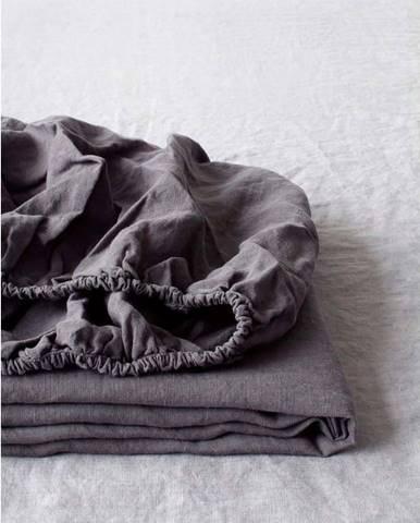 Tmavě šedé lněné elastické prostěradlo Linen Tales, 180 x 200 cm