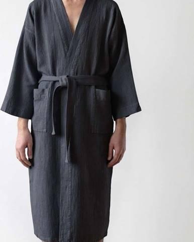 Unisex tmavě šedý župan z bavlny a lnu Linen Tales, vel. L